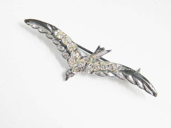 Vintage Clear Rhinestone Bird in Flight Brooch, 40s