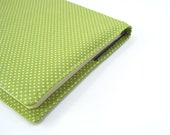2nd Wedding anniversary gift idea, tender shoots green white polka dots, Large Moleskine cover for 2013 planner or journal