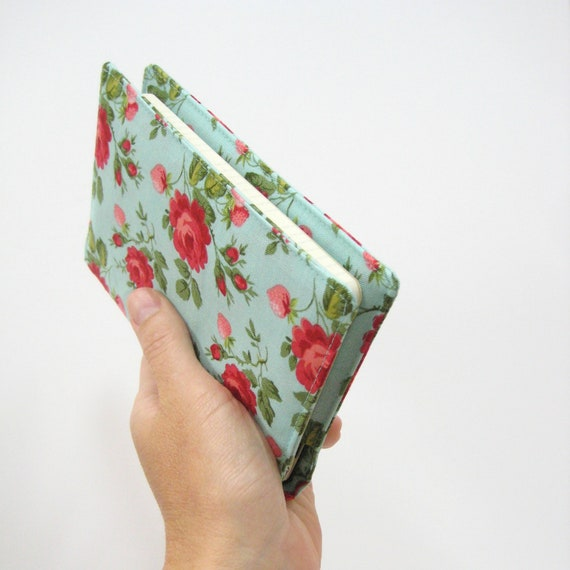 Shabby chic pocket Moleskine cover for planner or notebook, turquoise pink roses cloth fabric cover Gifts her Under 25
