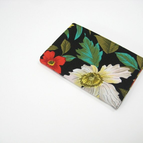 Day planner notebook 2013, black red white green floral, handmade fabric cover for A6 2013 diary, notebook
