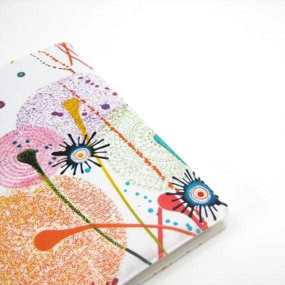 Unique large Moleskine cover, white orange pink purple abstract, fun fabric Moleskine covers, handmade greengrass2