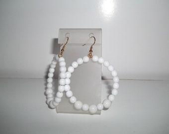 Hoop Earrings, White Earrings, White Hoop Earrings, Big Hoop Earrings, Large Earrings, Hoop Bead Earrings