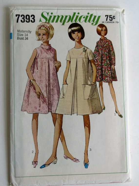 Vintage 1967 Maternity Dress Dress Pattern Simplicity 7393