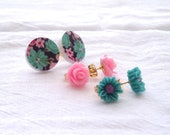 Pink and Teal Flower Post Earrings Gift Set