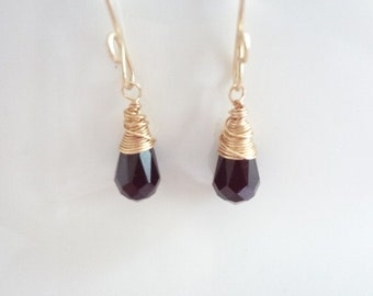 Black Teardrop Crystals, Wire Wrapped Earrings, Gold Filled, Bridal, Weddings, Bridesmaids, Handmade Jewelry, Jewellery