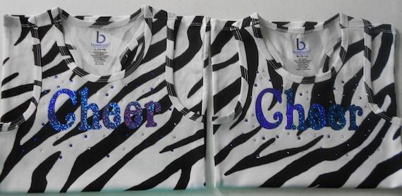 """Custom Zebra """"Cheer"""" Racer Back Tank"""