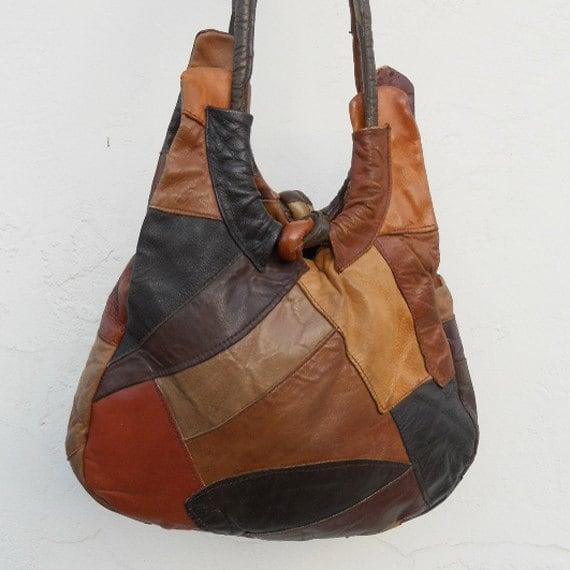 Vintage 70s Rustic PATCHWORK Leather Bag