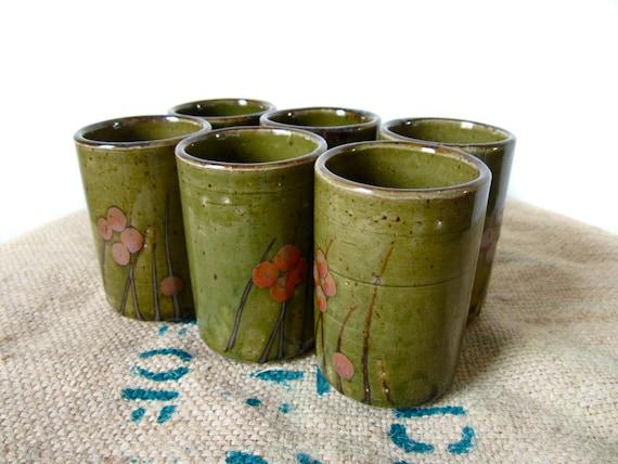 60s Olive Green Japanese Tumblers OMC - Set of Six