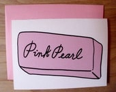 Pink Pearl Card, Vintage Art Supply, Single Blank Card, Featured on Design Sponge