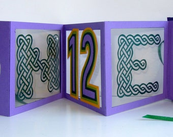 12th ANNIVERSARY Pop Up Accordion Book Card Original Design CUSTOM HANDMADE in Purple and Green with Hard Cover Binding Personalized OoAK