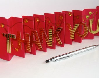 THANK YOU Card in a Box Accordion Miniature Book-Card Original Design CUSTOm MADe To Order Handmade Personalized in Red and Gold OOaK