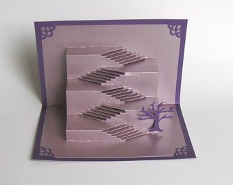 Pop Up STAIRS TO SUCCESS 3D Card Home Decor Origamic Architecture of Intricate Cuts in Light Metallic Purple and Dark Metallic Purple OOaK
