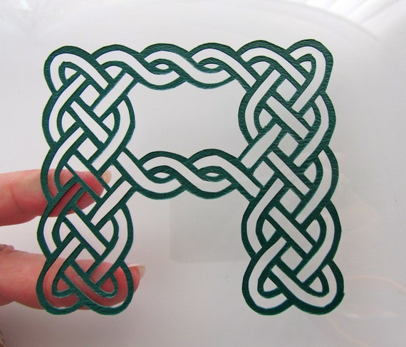 Eternity CELTIC Knots MONOGRAM Silhouette Papercut with LETTERS of Your Choice in All Colors Wall Art Home Décor Handcut One Of A Kind