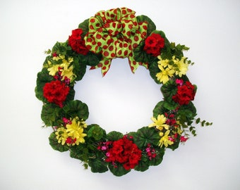 Red Geranium and Yellow Daisy 20 inch Wreath