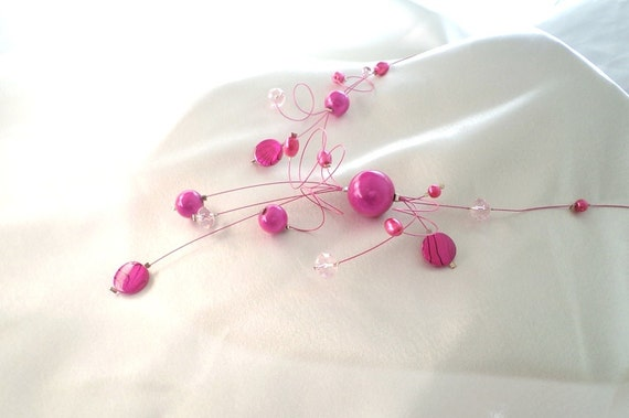 Neon Pink  Illusion Necklace, Delicate necklace