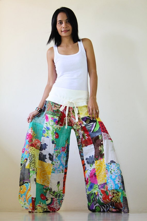 Womens pants Wide Leg Boho Patchwork pants : Boho Patchwork Collection