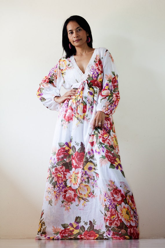Boho Maxi Dress Long Sleeves  Flower Print : Asian Blend Flower Girl Collection