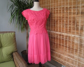 Vintage Stephen O'Grady Pink Chantilly  Lace and Chiffon Dress, Cocktail Dress, Vintage Clothing, Vintage Formal Dress, Vintage Pink Dress