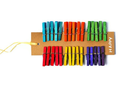 Colored mini clothespins - 30 rainbow wooden pegs in 1 inch. Color Happy miniature clips. Fun Rainbow Clothespins Party Gift enclosures