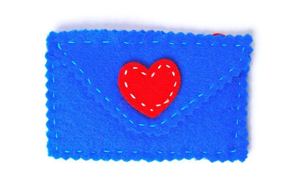 Felt envelope mini purse or gift card holder . deep blue envelope . orange pocket . red heart . zig zag . hand stitched .