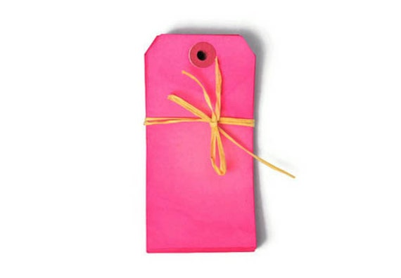 Fuchsia tags . hand dyed . bright pink 20 extra large 4.3/4 inch by 2.3/8 inch tags . scrapbooking label . wish tree gift embellishment