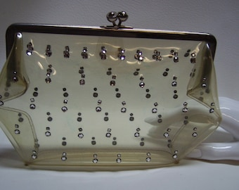 Vintage 40s  INGBER Petite Clear Purse with Rhinestones
