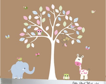 Baby wall decal nursery jungle tree wall decal pink and blue - 047