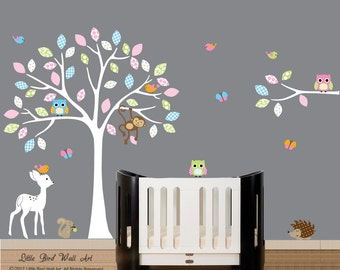 White tree decal, wall decal tree, nursery kids room decor, wall decor decals
