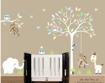 Nursery white tree wall decal, baby room decor, nursery walls, decal owls