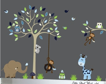 Children wall decals tan tree wall decal vinyl decal tree wall navy, blue, green and beige