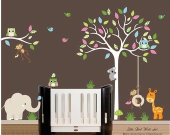 Children wall decals white tree wall decal vinyl decal tree wall
