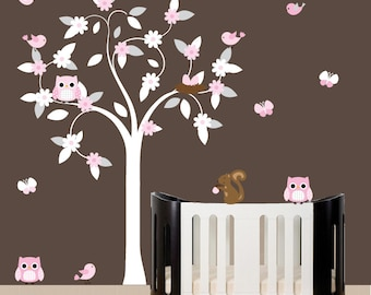 Childrens nursery wall decal - nursery wall decal with white swirl tree, owls, and birds