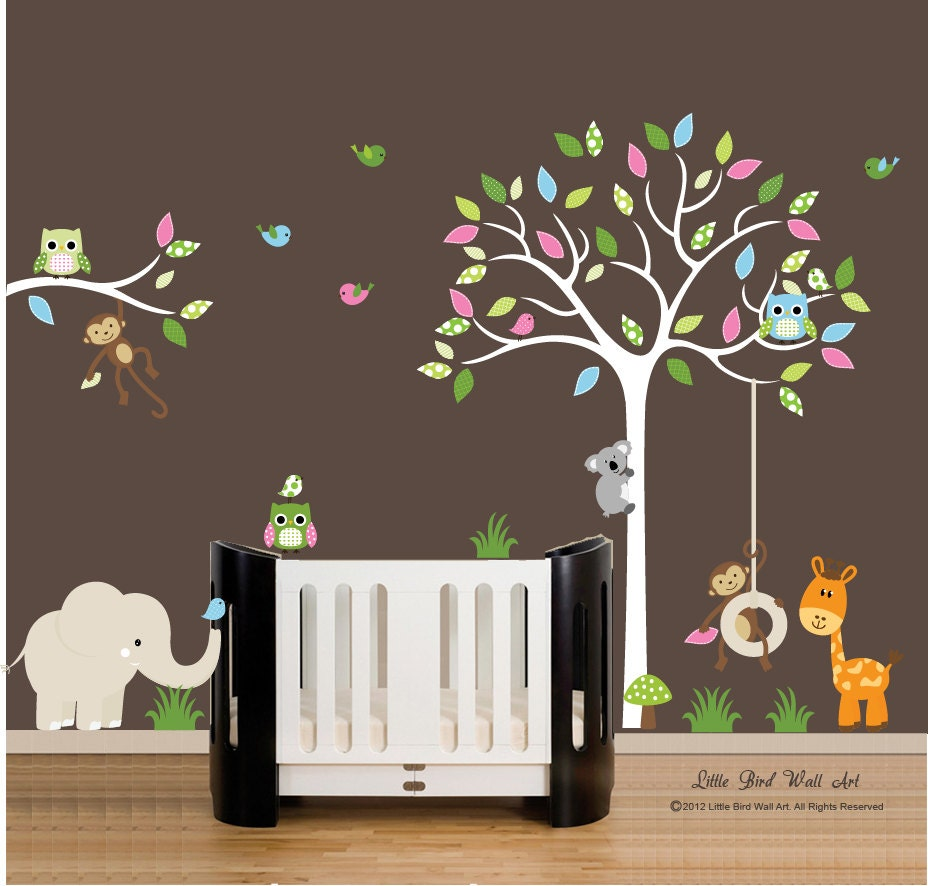 Children Wall Decals White Tree Wall Decal Vinyl Decal Tree