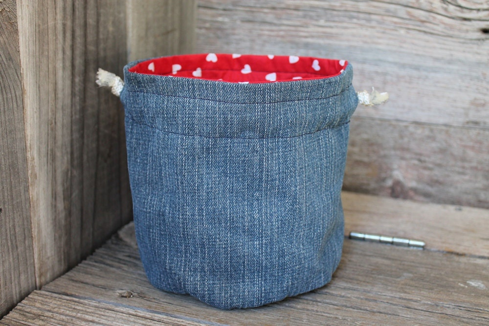 denim bag bucket style red white hearts little girls toy tote