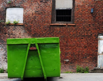 Green Metal Container, Red Bricks, Fine Art Photography Print, Manchester, Urban Photography,  Unique Home Decor, Wall Art, Photo Prints