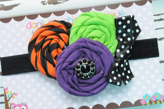 Halloween purple orange and lime headband, newborn halloween bow, infant halloween bow