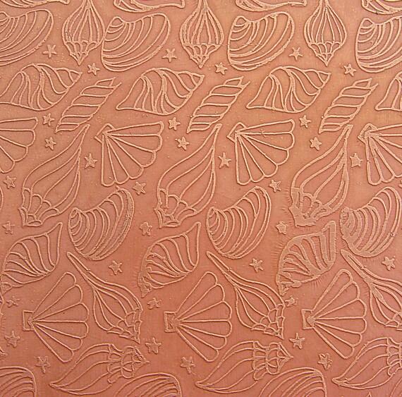 Etched Copper Sheet, Summer Seashells, Sandy Peach 4x3 inches, 24g