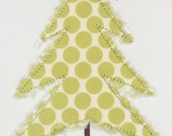 Christmas Simple Tree Raggy and Zig Zag Embroidery Design Machine Applique