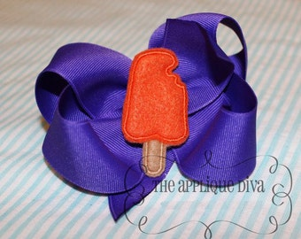 Summer Popsicle Bow Centers Embroidery Design Machine Applique