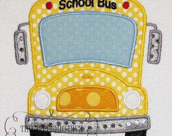 Back to School School Bus Embroidery Design Machine Applique