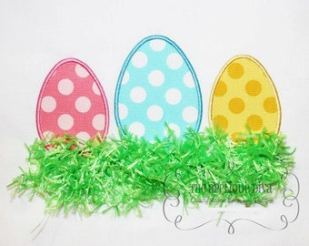 Easter Three Eggs with Grass and with out Grass Embroidery Design Machine Applique