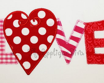 Valentine's Day LOVE word Embroidery Design Machine Applique