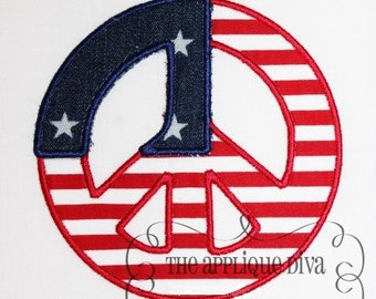 4th of July Peace Sign Flag Embroidery Design Applique