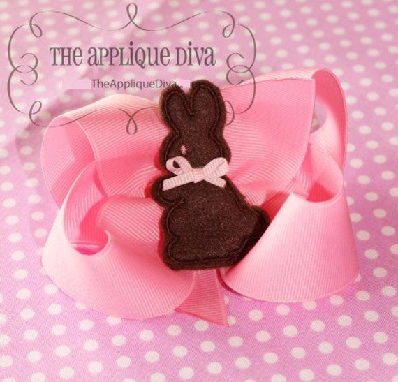 Easter Chocolate Bunny  Hair Bow Center Embroidery Design Machine Applique