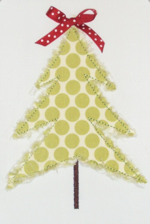 Christmas Simple Tree Raggy And Zig Zag Embroidery Design