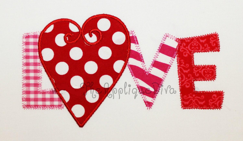 Valentine s day love word embroidery design machine