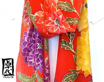 Hand Painted Silk Scarf, ETSY, Christmas Gift, Fringe, Red Silk Scarf, Kimono Dahlia Red Scarf, Handmade in the USA, Takuyo, 14x72 inches