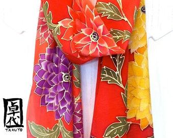 Silk Scarf Floral Fringe Red Silk Scarf. Kimono Dahlia Red Hand Painted Silk Scarf. Handmade in USA. Silk Scarves Takuyo. 14x72 in.