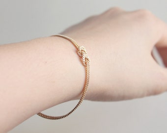 Infinity Love Knot Gold Bracelet - 14k gold filled sailors knot bracelet, stocking stuffer