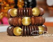 NEW - Mahogany brown wood and brass stretch bracelet - WARRIOR bracelet